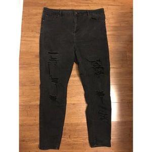 ASOS Black Skinny Ripped Jeans: Size 16 Regular